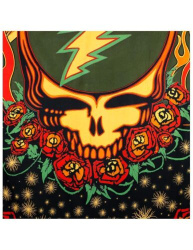 Grateful Dead Steal Your Face Tapestry Wall Hang Roses Hippie Scarlet Fire Art