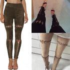 Mode Pour Femmes Legging Bandage Lacet Crayon Noir Pantalon Pantalon Skinny UK