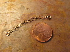 """14KT Yellow Gold Necklace Extender Safety Chain 2"""" Cable Chain Spring Ring Clasp"""