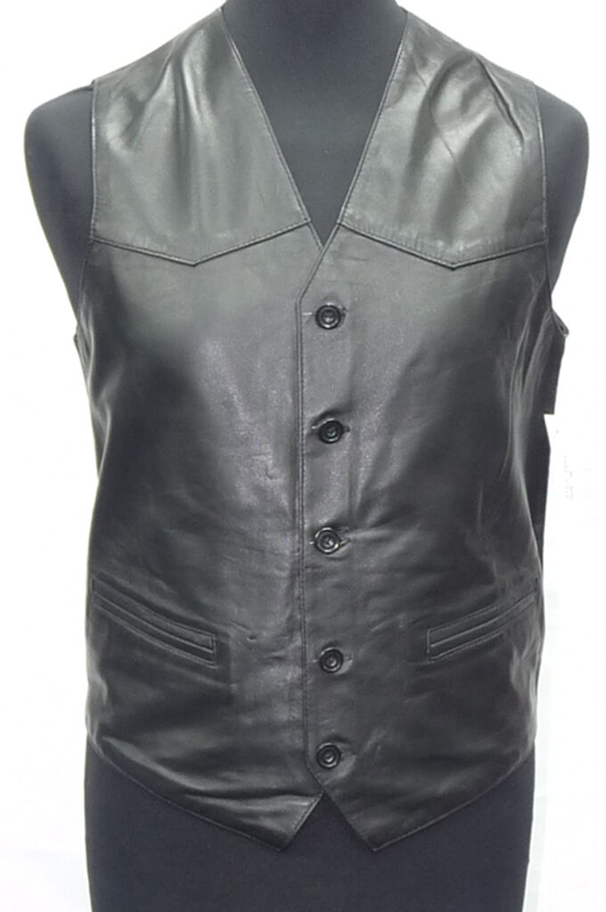 Uomo Gents Party Gilet Moda Classico Designer Italiano Nero Napa Gilet Party in Pelle 74bcb5