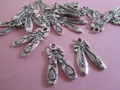 20pc Ballet Shoe Silver Plated Alloy Dance Charm//bead//Craft//Girl//Ballerina K68