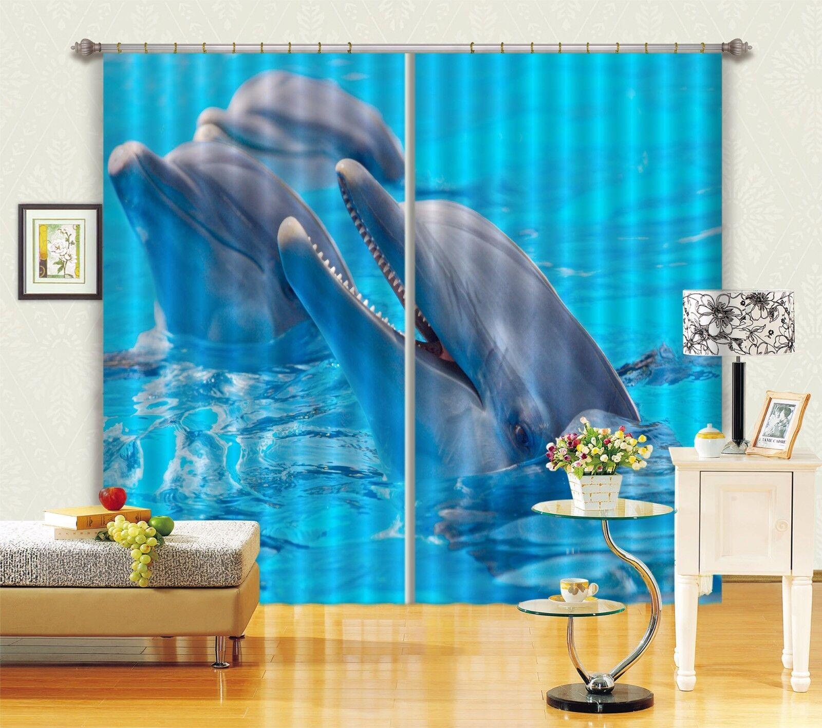 3D azul Dolphin 57 Cortinas de impresión de Cortina Blockout Foto Tela Cortinas Ventana Reino Unido