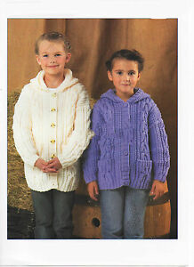 """with or without hood Childs  Aran Jacket Knitting pattern chest 22-32/"""""""