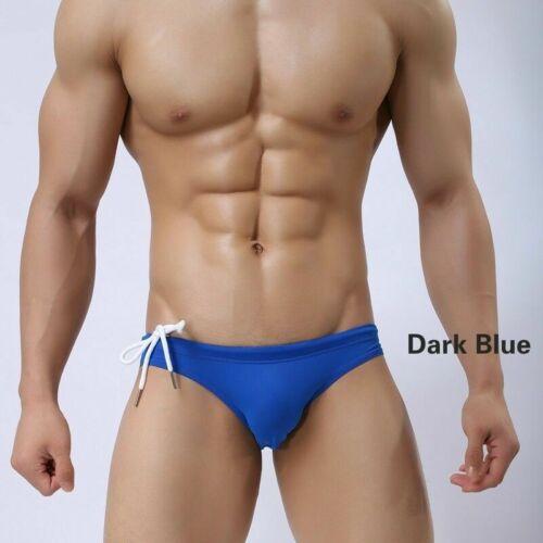 Men Swimming Trunks Low Rise Swim Bikini Briefs Shorts Underwear Swimwear White