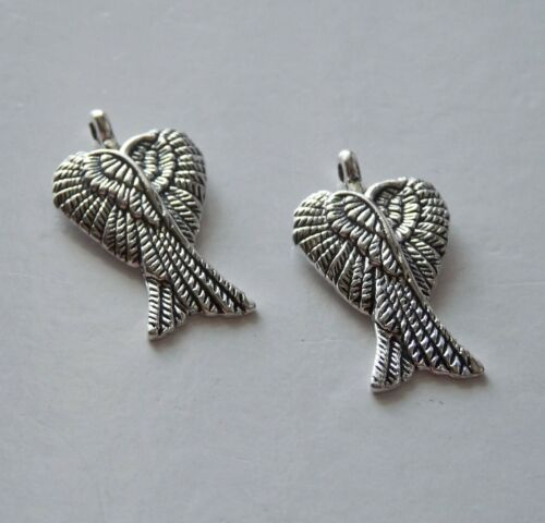 5 Large Angel Wing Charms for Necklaces Pendant Findings Supplies Antique Silver