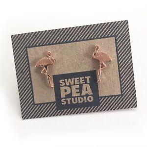 Kitsch-Flamingo-Brushed-Rose-Gold-SweetPea-Studio-Stud-Earrings-Jewellery-Gift