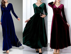 AU-STOCK-WOMENS-SZ-8-18-SEXY-Velvet-COCKTAIL-PARTY-WEDDING-MAXI-DRESS-DR099