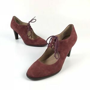 11a4ff74fc6d Lands End Remy High Heel Ghillie Lace-up Mary Janes Shoes Red Suede ...