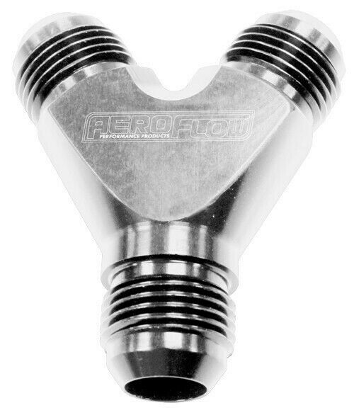Aeroflow Y Block -8AN In -6AN Out Silver 1X -8AN In 2X -6AN Out AF930-08-06S