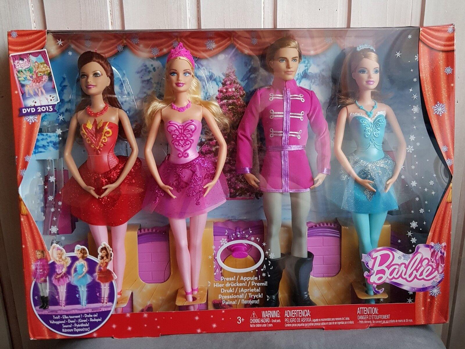 MATTEL Barbie bbm01-danzante NATALIZIA notte affannose, con musica, 4 Bambole NUOVO OV.
