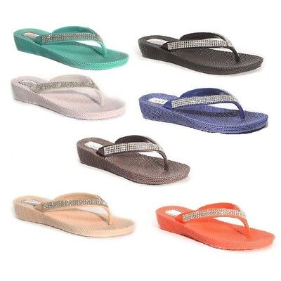 Damas Mujeres Cuña Toe Post Flip Flop Diamonte Sandalias, Playa O Casual Wear S1