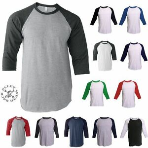 Raglan-T-Shirt-3-4-Sleeve-Baseball-Plain-Tee-Jersey-Vintage-Sports-Team-Unisex