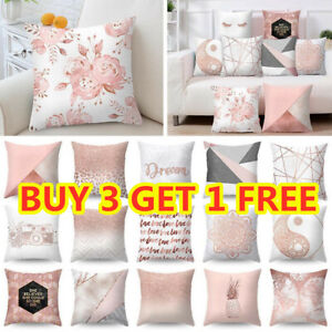 Rose Gold Cushion Covers Pink Grey Geometric Comfy Soft Pillow Case Sofa Home UK