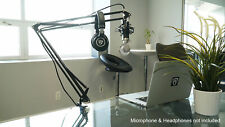 "Rockville DMS40 40"" Microphone Boom Arm Studio Podcast USB Mic Stand Desk Clamp"