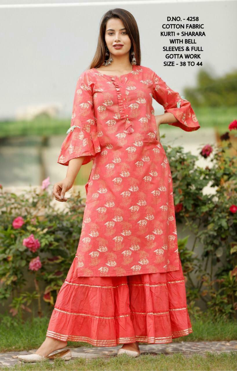 Details about  /Women Indian kurta dress wedding cotton palazzo Top sharara blouse Combo Ethnic