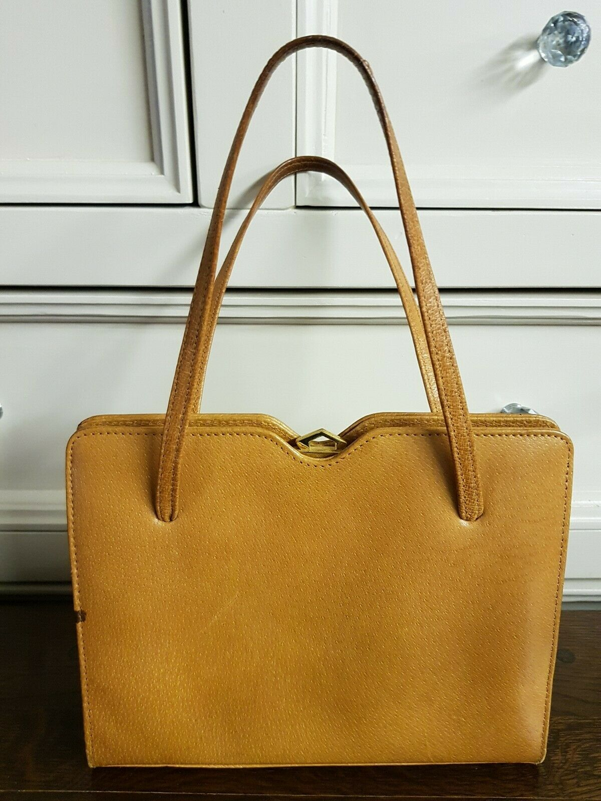 Vintage Tan Leather Handbag by RIVIERA ENGLAND with Mirror and Purse