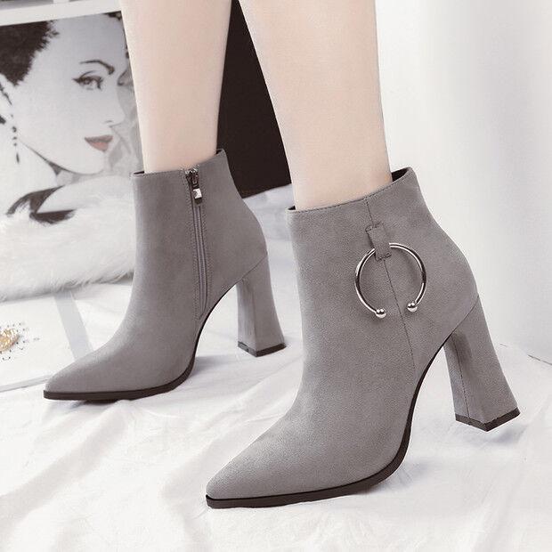 stivali stivaletti bassi scarpe stiletto 9 cm grigio  eleganti simil pelle 9608