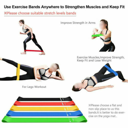5PCS Resistance Bands Exercise Loop Yoga Gym Workout Fitness Leg Exercise Sports