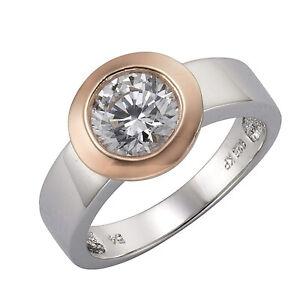 Damen-Ring-Bicolor-925-Sterling-Silber-rosevergoldet-Grosser-Zirkonia-Solitaerring