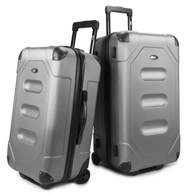 US Traveler Long Haul 2pc Silver Cargo Trunk Case Rolling Luggage Suitcase Set