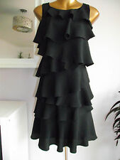 MONSOON MONACO BLACK 20's GATSBY COCKTAIL PARTY TIERED EVENING DRESS 18