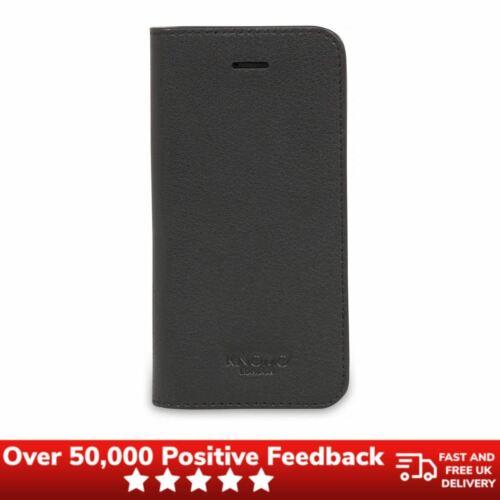 Knomo iPhone caso Folio De Cuero Negro Para 5S//SE