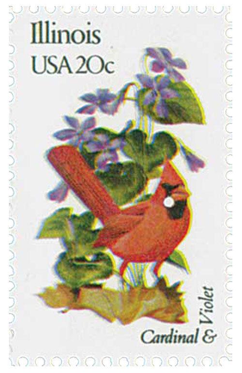 1982 20c State Birds & Flowers, Illinois Cardinal & Vio