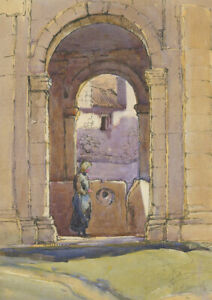 C-H-Mid-20th-Century-Watercolour-Archway-with-a-Figure