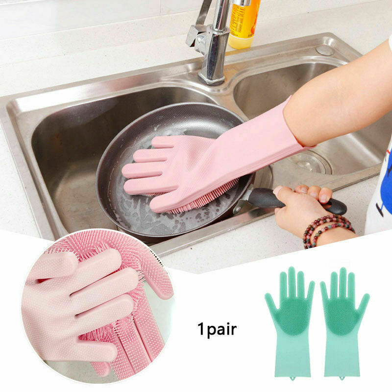 1Pair Silicone Rubber Dish Washing Gloves Magic Scrubber Cleaning Brush Kitchen 3
