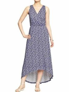 dc0e08bf798 OLD NAVY Cross Front High Low Maxi Dress Blue Paisley Print Size ...