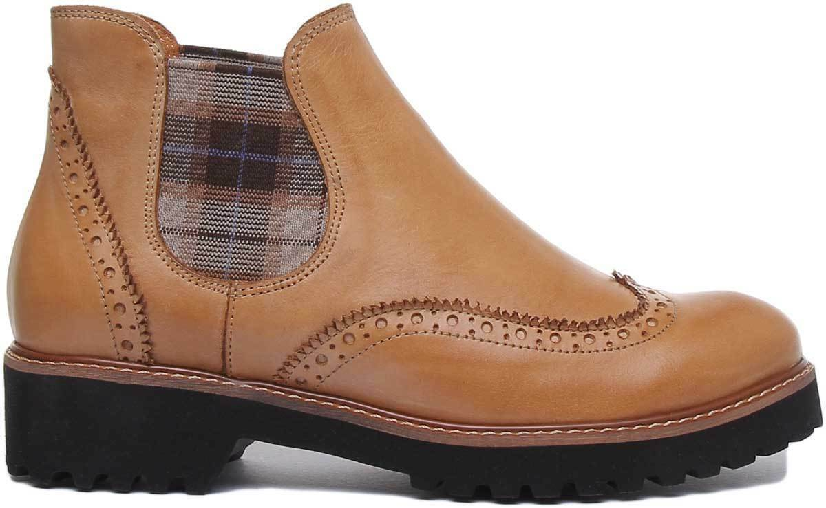 Details about  /Justin Reece Hero Womens Studded Chelsea Cowboy Boots In Tan UK Sizes 3-7
