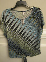 Jules & Leopold Stretchy Keyhole Top Tie Front Shirt Blue Green Zigzag Sz S