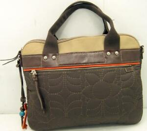 FOSSIL Key-Per Quilted Laptop Tote Brown Padded Bag Missing Long ... : quilted laptop tote - Adamdwight.com