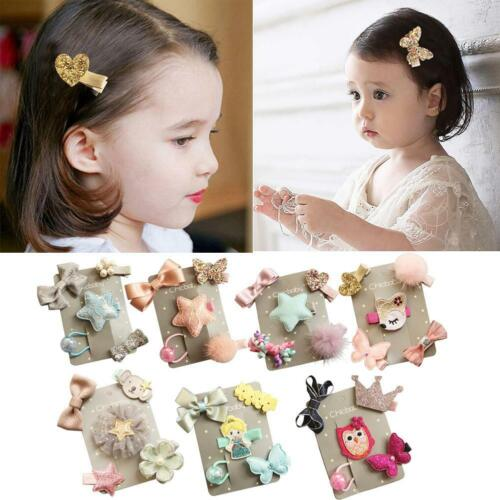 5Pcs//Set Bowknot Baby Hair Clips Crown Hairpins Children Kids Barrettes Headwear