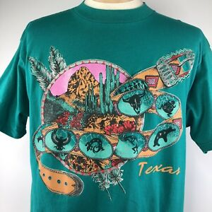 Texas-Western-Belt-Cactus-Shirt-Sz-XL-Green-Multicolor-Short-Sleeve-Tee