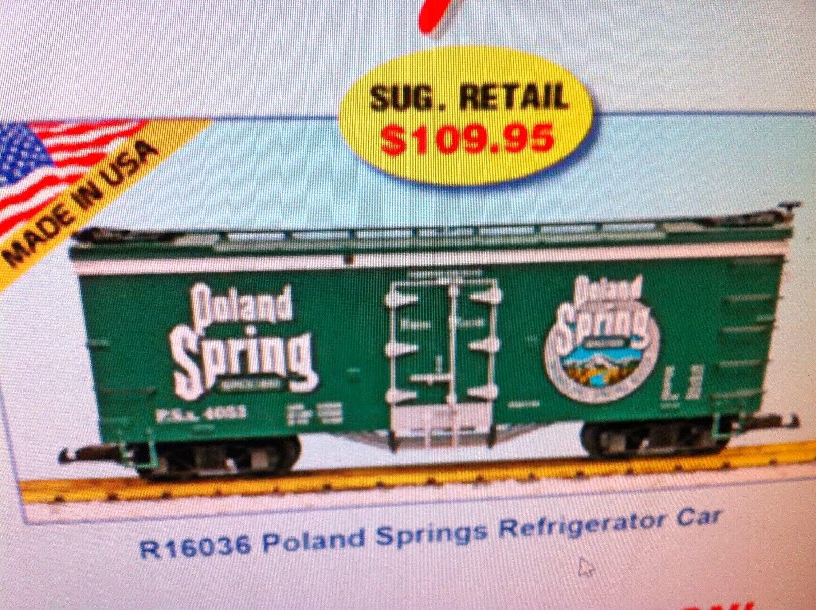 USA Trains G Scale R16036 Poland Spring Refrigerator Car NEW RELEASE