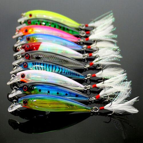 10pcs Lot Mixed Minnow Fishing Lures Bass Baits Crankbaits Fish Hooks Tackle US