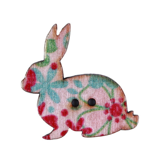 50pcs Rabbit en forme en bois boutons bois Scrapbook Sewing Craft Scrapbooking Outil