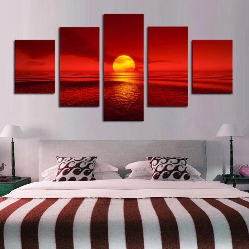 rot Sunset Sea 5 Panel Canvas Print Wall Art