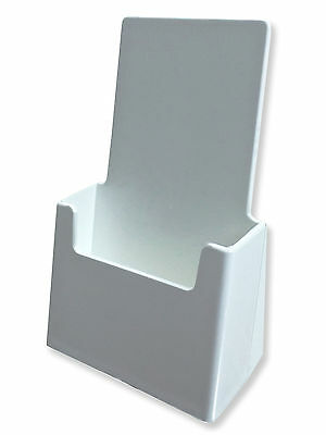 White Tri Fold Rack Card Brochure Holder HIGH QUALITY Display Countertop