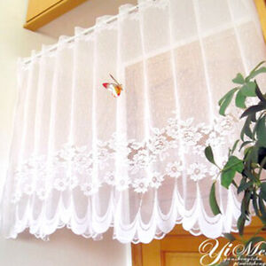 Lace-Sheer-Window-Cafe-Curtain-Rod-Pocket-Floral-Room-Kitchen-Valance-Home-Decor