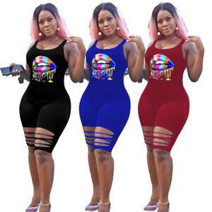 Women Colorful Lip Printed Scoop Neck Sleeveless Backless Bodycon Short Jumpsuit
