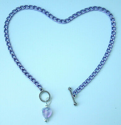 """Anklets Fashion Jewelry Sensible Violet Aluminum Chain Nickel Free 10"""" Or Custom Anklet With Ab Heart Pendant Relieving Heat And Thirst."""