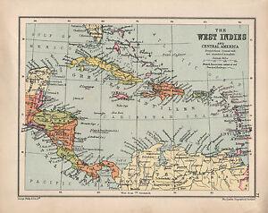 Carte Cuba Costa Rica.Carte De 1934 Antilles Et Amerique Centrale Cuba Jamaique Haiti