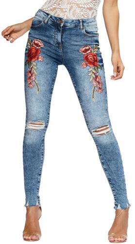 Jeans stretti ricami rose con strappi leggero sfilaccio alla caviglia