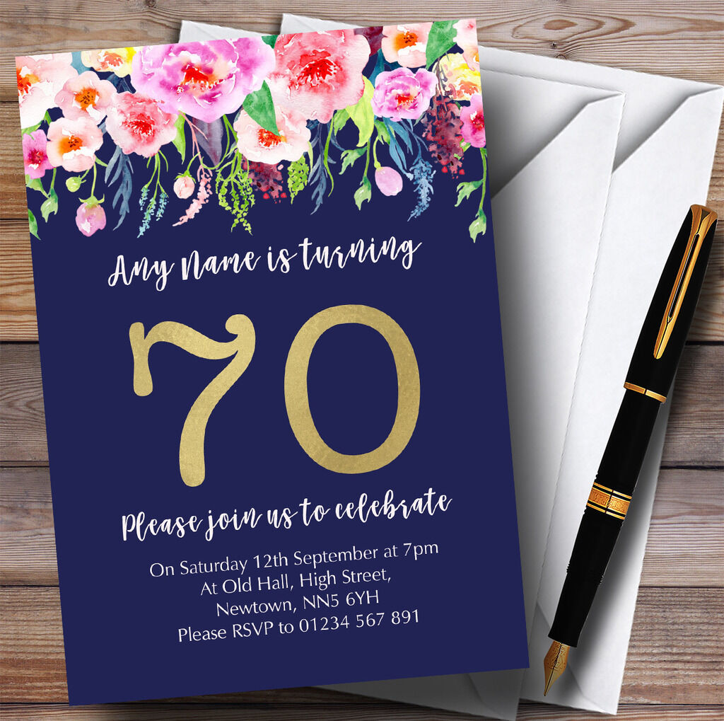 bluee & Pink Watercolour Flowers 70th Personalised Birthday Party Invitations
