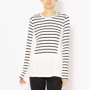 Women-039-s-BCBG-MAX-AZRIA-Morgin-Fashion-Striped-Sweater-Long-sleeve-Top-Shirt