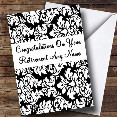 Noir floral damas blanc RETRAITE personnalisé Carte de vœux