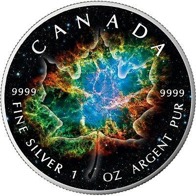CANADA 2018 MAPLE LEAF TITAN SPACE 1 Oz SILVER COLOR MINTAGE 100 PCS BOX /& COA