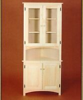 Amish Corner Cabinet Pantry Hutch Bathroom Kitchen Solid